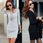 Women Winter/Autumn V Neck Basic Bottoming Long Sleeve Mini Bodycon Slim Dress