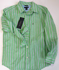 TOMMY HILFIGER Boys  Sz 8-10 Shirt Striped Green Long Sleeve Dress Top NEW NWT