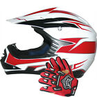 Leopard Junior Youth Child Kids MX  Motorbike Motorcross Helmet Red + Gloves Set