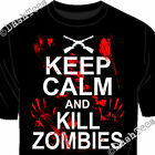 KEEP CALM AND KILL ZOMBIES BLOOD BLOODY HANDPRINT GUNS FUNNY NEW MEN T-SHIRT TOP