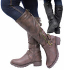 Ladies Womens Leather Style Knee High Mid Block Heel Riding Biker Fur Boots Size