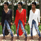 Lady V Neck Draped Front Twist Flowy Wrap Long Sleeve Top Bandge Dress 3 Colors