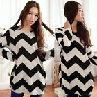 Women Stripe T-Shirt Long Sleeve Crew Neck Shirt Black Summer New Dress C99D