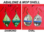 NEW-HANDCRAFTED ABALONE & MOP SHELL ALPACA SILVER OCEAN VIEW WIRE EARRINGS
