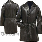 Womens Black Leather Mid-Length Button Front Coat with Tie Belt Double Breasted