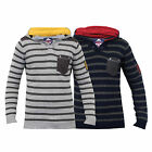 Boys Jumper Kids Knitted Top Hooded Sweater Pullover Striped Casual Winter New