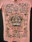 Vocal Women's Embellished Tee Pink Jeweled Royal Crown Designer Nightlife