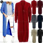 Womens Ladies Longline Chunky Knitted Long Sleeve Mid Length Cardigan Jumper Top
