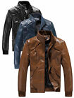 Fashion Men Biker Motorcycle Zipper Slim Fit PU Leather Stand Collar Jacket Coat