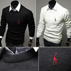 Mens Casual Slim Fit Crewneck Knitted Cardigan Pullover Jumper Sweaters Tee Tops