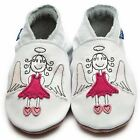 Inch Blue Girls Boys Luxury Leather Soft Sole Baby Shoes - Angel White & Pink