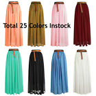 Women Lady Chiffon Pleated Retro Long Maxi Dress Elastic Waist Skirt | 25 Colors