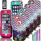 For Apple iPhone 6 6s Plus Hybrid Shockproof Armor Case Chevron Starry Sky Cover