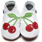 Inch Blue Girls Baby Luxury Leather Soft Sole Pram Shoes - Cherry White Red