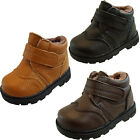 Infant Baby Boys Faux Fur Lined Warm Velcro Kids Ankle Boots   Size 3 4 5 6 7