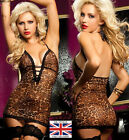 Sexy Womens Leopard Print Chemise Lingerie babydoll set Free Thong Valentines