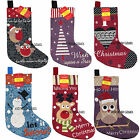 Traditional Tapestry Christmas Stocking Xmas Santa Snowman Reindeer 7 Designs