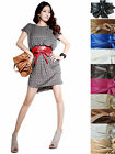 Women's PU Leather Self Tie Bowknot Long Wide Belt Wrap Waist Band Corset Cinch