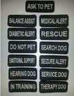 """Small Black Sew-On Embroidered Patches - SERVICE DOG  ASSORTED - 1 1 /4 x 3"""""""