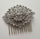 Silver Crystal Hair Rhombic Flower Comb Art Deco 1920s Vintage Glamour Beautiful
