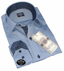 Brand New Mens Smart Blue Grey and Navy Collar Slim Fit Party Cotton Shirt 100%
