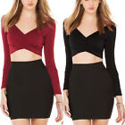 Long Sleeve V Neck SOLID Soft Stretch Crop TOP Cropped Tee Shirt Top TEE