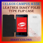 LEATHER DIARY FOLIO FLIP FLAP CASE of CELKON CAMPUS A35K MOBILE FRONT&BACK COVER