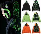 A BATHING APE Mens 1ST CAMO NEON SHARK FULL ZIP HOODIE 3 Colors From Japan New