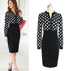Women Elegant Dot Print Work OL Business Work Slim Pencil Cocktail Party Dress