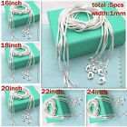 """FREE P&P 5PCS 1MM SOLID 925STERLING SILVER JEWELRY SNAKE CHAIN 16""""-24""""NECKLACE"""