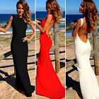 Sexy Womens Backless Sleeveless Bodycon Party Cocktail Evening Long Maxi Dress