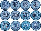 AGE BIRTHDAY PARTY BLUE & SILVER GLITZ GIANT JUMBO BIRTHDAY BADGE DECORATION