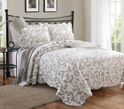 3 Piece Loreal Taupe Scroll Quilt Set