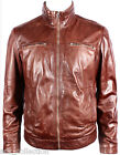 Men's Brown Soft Retro Urban Biker Style Zipped Casual Bomber Leather Jacket