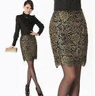 New Womens Retro Gilding Lace Embroidery Casual Floral Slim Workwear OL Skirt
