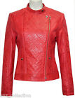 Diamond Ladies Red Stylish Fashion Designer Quilted Soft Real Leather Jacket