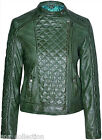 Diamond Ladies Green Stylish Fashion Designer Quilted Soft Real Leather Jacket