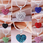 CHIC Women's Fashion Crystal Heart Shamballa Chain Pendant Necklace Free ship
