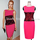 2015 Women Black Lace Waist Summer Wiggl  Pencil Party Bodycon Tunic Dress Y765