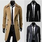 2015 New Men's Slim Winter Trench Pea Coat Long Jacket Double Breasted Overcoat
