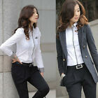 Women OL Ladies Formal Shrug Bubble Long Sleeve Work Wear Shirt Button Blouse S