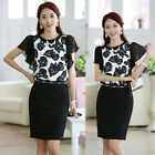 New Fashion Women's Vintage puff short Sleeve Sheer Tops chiffon Shirt casual to