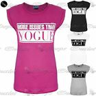 Womens Ladies More Issues Than Vogue Printed Turn Up Cap Sleeve Tee T Shirt Tops