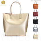 Women's Fashion Trendy Silver Gold Real Leather Large Metallic Tote Bag Handbag