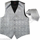 SILVER XS to 6XL Paisley Tuxedo Suit Dress Vest Waistcoat & Neck tie Wedding for sale  Shipping to Nigeria