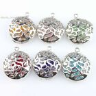 Contain Colorful Beads Hollow Out Flower Dangle Round Ball Pendant Fit Necklace