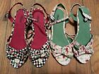 Wanted Cuties Country Fabric Upper With Bowtie Open Toe and Ankle Straps