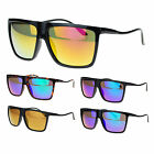 Mens Color Mirror Lens Unique Wave Temple Oversize Rectangular Sport Sunglasses