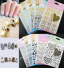 Lots 3D Gold Black Decal Stickers Nail Art Tip DIY Decoration stamping Manicure