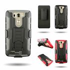 Heavy Duty Belt Clip Holster Cover Hard + Soft Hybrid Tough Case for LG G3 Vigor